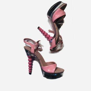 Ellie Pink Pig Suede Sock high heels